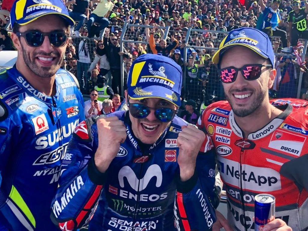 Maverick Vinales (C) won the MotoGP Australian Motorcycle Grand Prix from Andrea Iannone (L) and Andrea Dovizioso (R). Pic: MotoGP