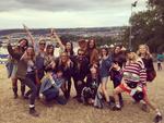 Margot Robbie (right) with friends at Glastonbury. Source: Instagram