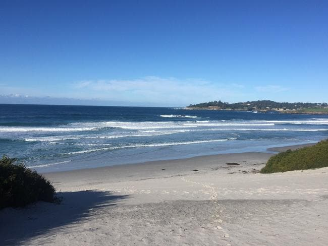 The beautiful Carmel Beach looking across to Pebble Beach.