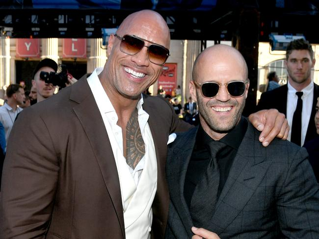 The Rock and film co-star and Jason Statham. Picture: Getty