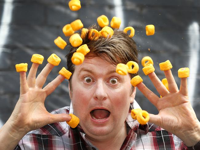 Comedian Dave O'Neil knows Cheezels are heaps of fun ... but they're probably not something we should be eating all the time. Picture: David Caird