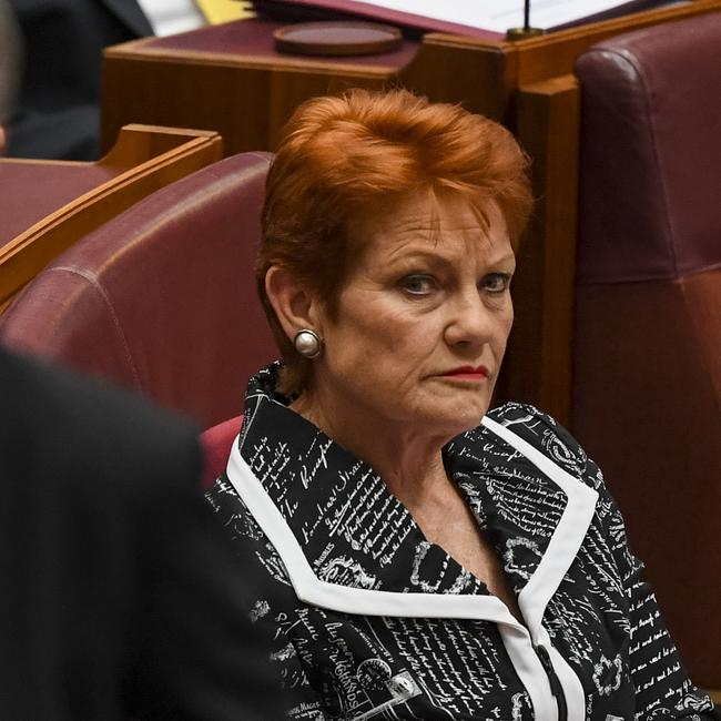 One Nation Leader Pauline Hanson during a division in the Senate chamber. Picture: Lukas Coch