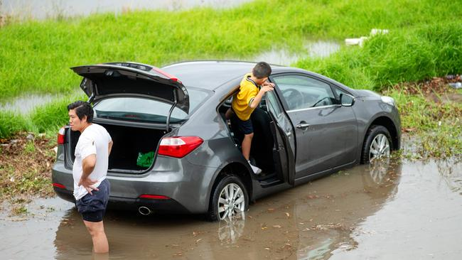 Drivers struggled with floodwaters in Newport as a huge deluge hits Melbourne. Picture: Mark Stewart