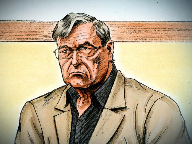 A court artist sketch by Paul Tyquin of Cardinal George Pell at the County Court in Melbourne yesterday. Picture: Paul Tyquin/AAP