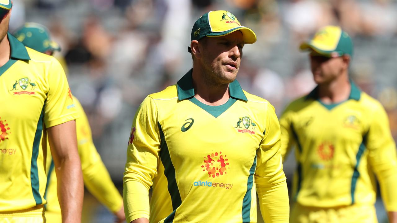 Aaron Finch of Australia reacts during a bad loss to South Africa in Perth.