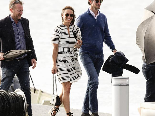 Pippa Middleton and her husband James Matthews arriving back at Sydney Sea Planes terminal in Rose Bay. Picture: Justin Lloyd