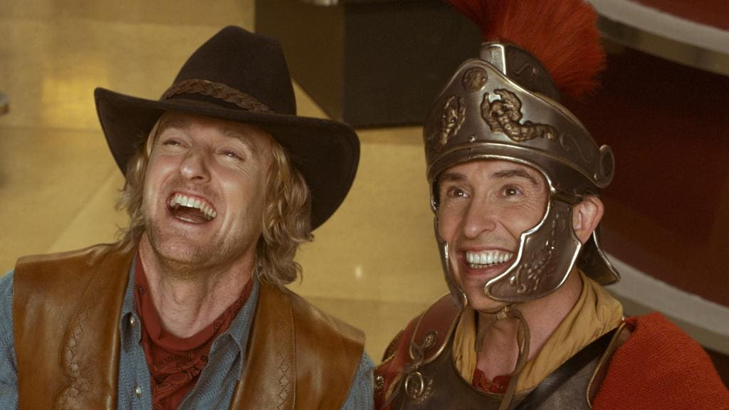 Owen Wilson and Steve Coogan appearing in Night at the Museum 3.