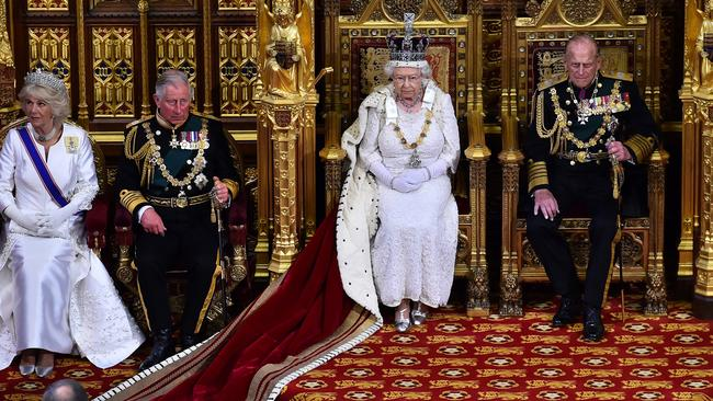 Queen Elizabeth II and Prince Philip (right) will be replaced on her death by (left) Charles and Camilla and king and queen of England. Picture: Ben Stansall.