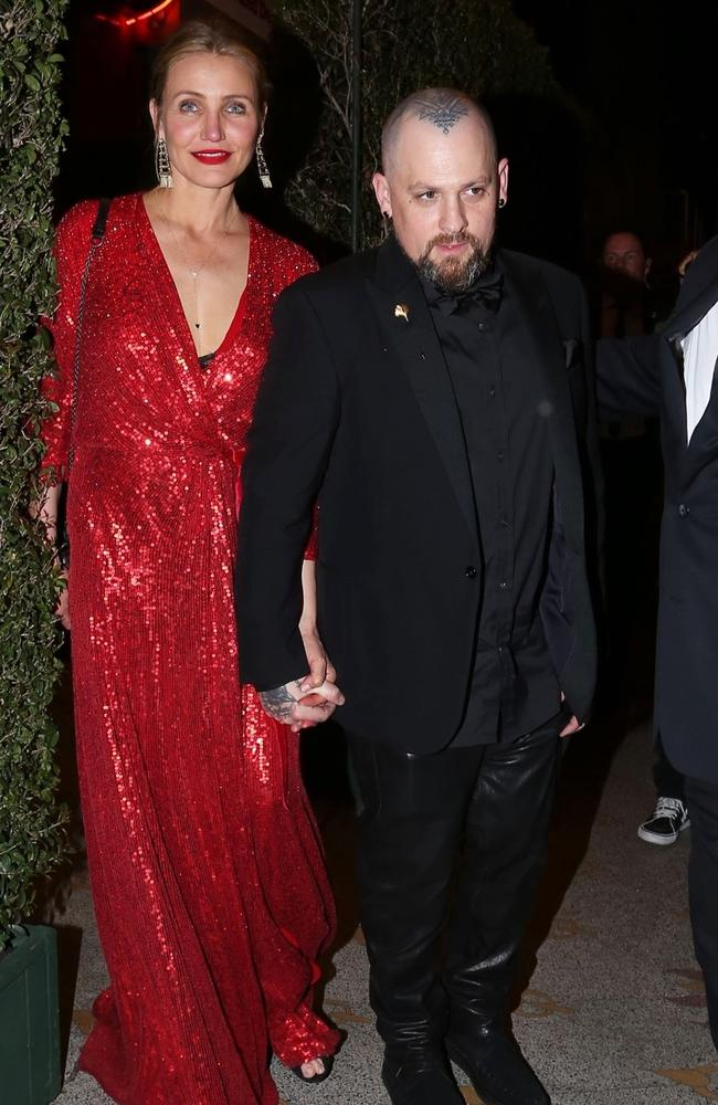 Cameron Diaz and Benji Madden leave Gwyneth Paltrow and Brad Falchuk's star-studded engagement party. Picture: Backgrid