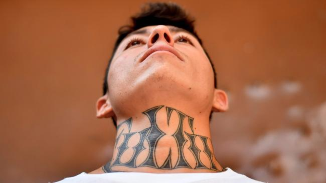 An ex-member of the MS-13 at Santa Ana prison. Picture: Oscar Rivera / AFP