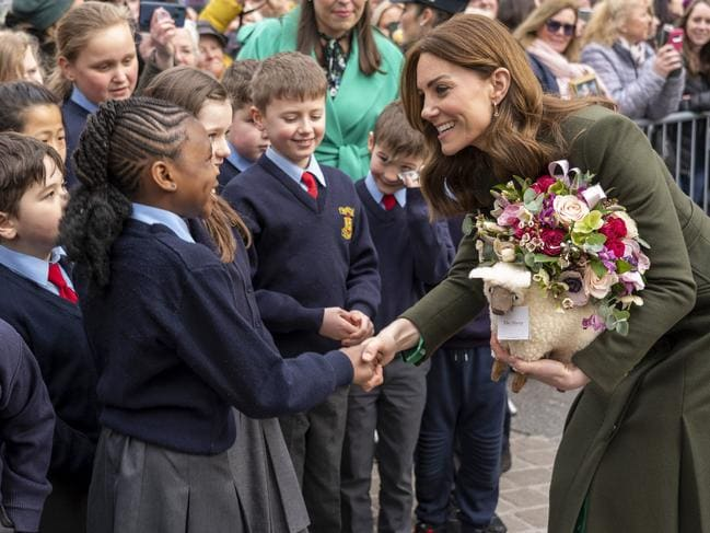 The Duchess of Cambridge meeting school children during the royal tour of Ireland. Picture: Arthur Edwards/Pool via AP