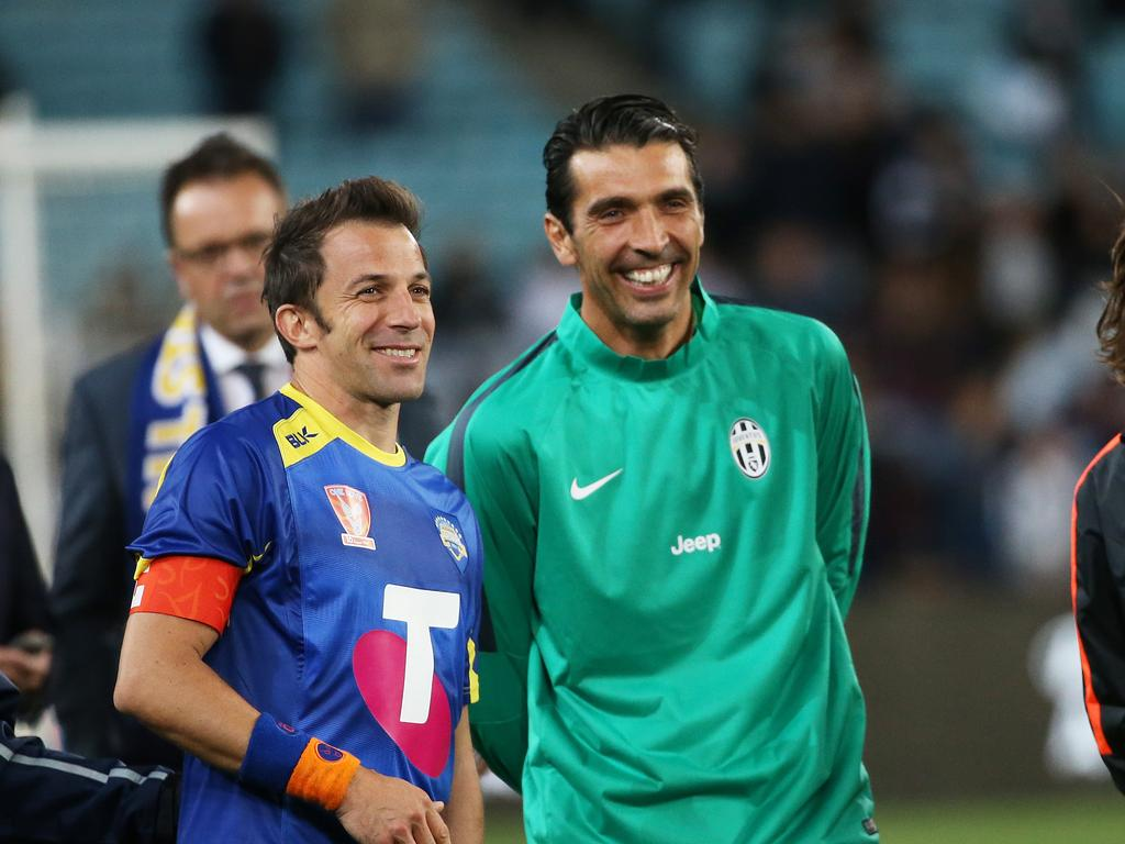 All Stars Alessandro Del Piero and Juventus' Gianluigi Buffon come together after A-League Allstars v Juventus match at ANZ Stadium. pic. Phil Hillyard