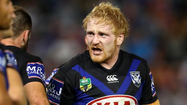 Bulldogs prop James Graham could make way for Aaron Woods. Picture: Gregg Porteous