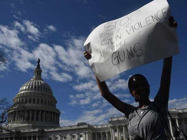 In the wake of the Florida shooting, US students have taken to the streets in droves to protest gun violence in the country. Picture: AFP/Olivier Douliery