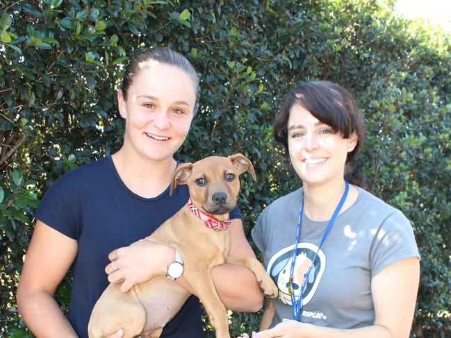 RSPCA worker Emma Lagoon (right) and Australian tennis ace Ash Barty at the RSPCA at Wacol, Queensland. Picture: RSPCA