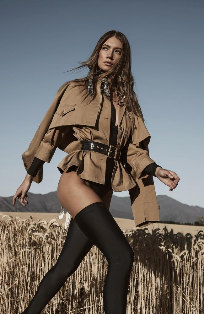 Model mode! Lorena Rae on set in Wanaka, New Zealand. Picture: Steven Chee/Grazia Australia