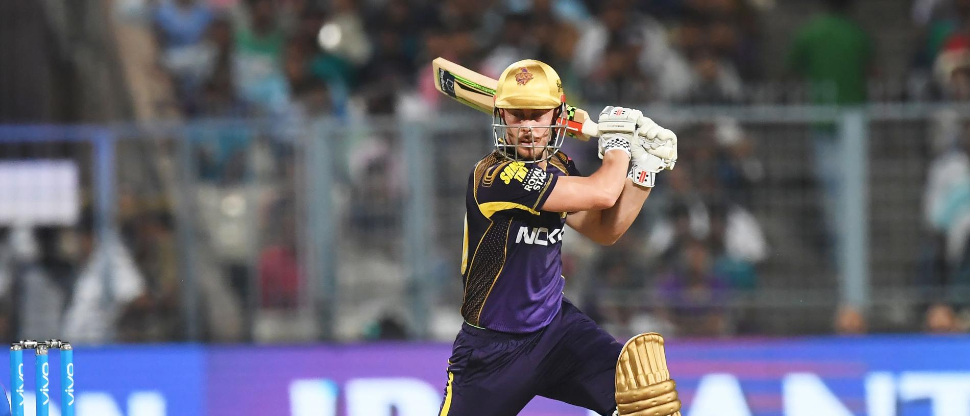 Kolkata Knight Riders cricketer Chris Lynn plays a shot during the 2018 Indian Premier League(IPL) Twenty20 first eliminator cricket match between Kolkata Knight Riders and Rajasthan Royals at the Eden Gardens Cricket Stadium in Kolkata on May 23, 2018. / AFP PHOTO / Dibyangshu SARKAR / ----IMAGE RESTRICTED TO EDITORIAL USE - STRICTLY NO COMMERCIAL USE----- / GETTYOUT
