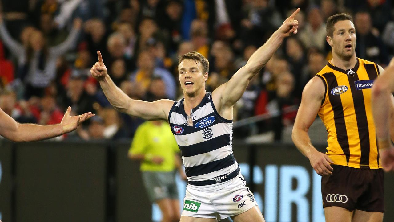 Lincoln McCarthy struggled with injury at Geelong. Picture: George Salpigtidis