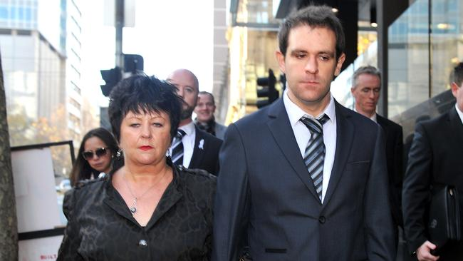 Tom Meagher (Jill Meagher's husband) and Edith McKeon (Jill Meagher's mother) leave the Supreme Court in Melbourne after the sentencing of Adrian Bailey for the murder and rape of Jill Meagher.