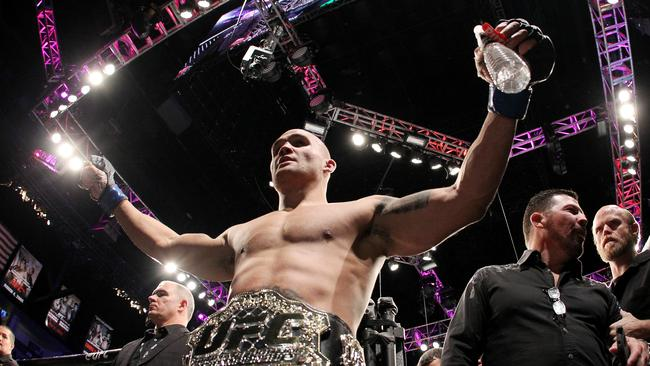 Robbie Lawler celebrates a win.