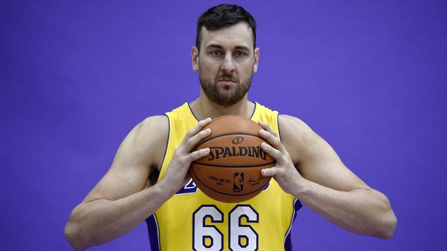 Andrew Bogut shows off his new Laker digs. Picture: Getty Images/AFP