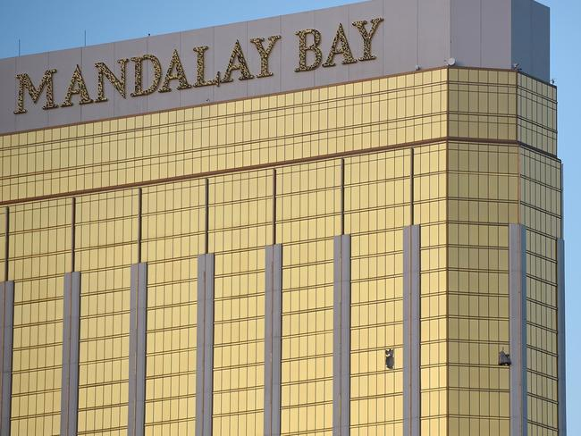 Broken windows are seen on the 32nd floor of the Mandalay Bay Resort and Casino after the gunman opened fired on the Route 91 Harvest country music festival. Picture: David Becker/Getty Images/AFP