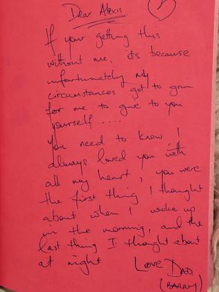The tragic handwritten note found inside the book. Picture: Natalie Coleman/Facebook