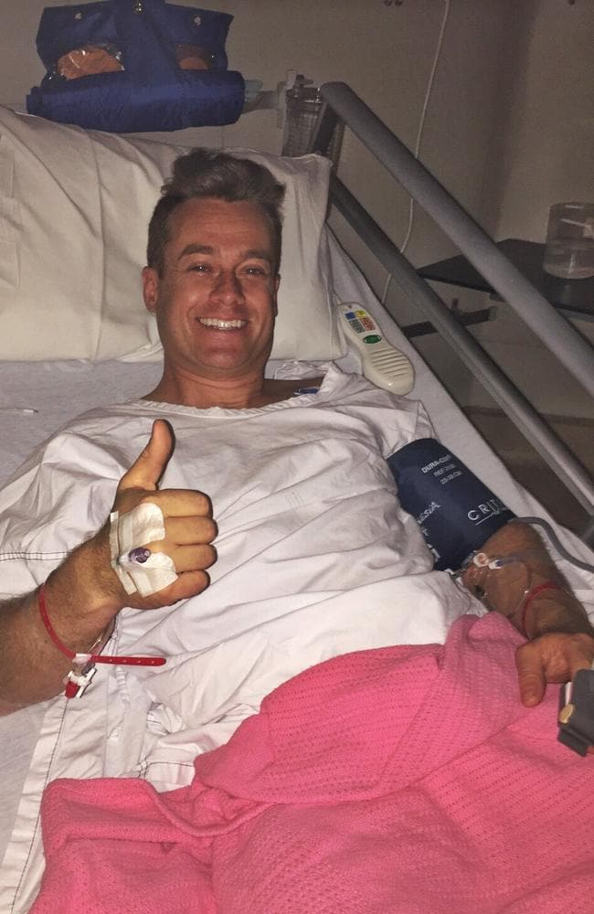 """Grant Denyer tweets from hospital bed ... """"Dale & I can't thank u enough 4 all the wonderful messages of support. It's really lifted our spirits. V sore but OK."""" Picture: Grant Denyer/Twitter"""