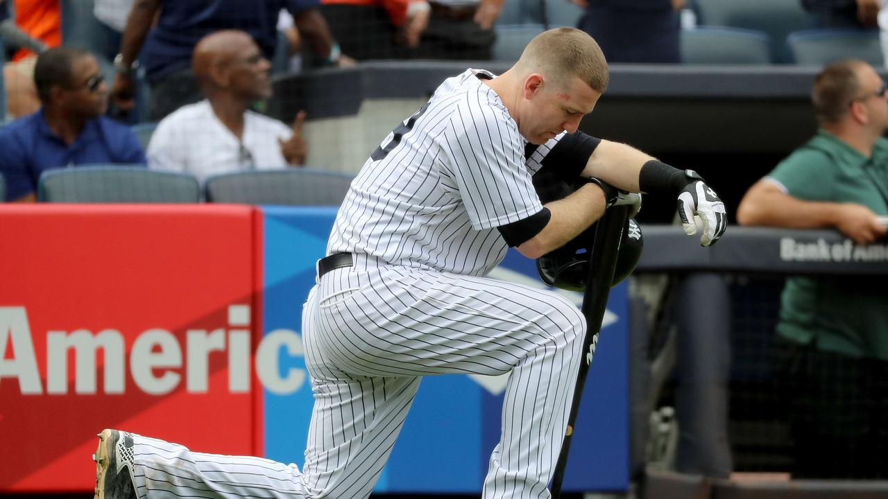 Todd Frazier of the New York Yankees reacts after a child was hit by a foul ball off his bat last year. Many fans are injured by foul balls every season.