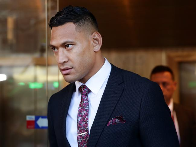 Israel Folau leaving the Fair Work Commission in East Sydney. Picture: Jonathan Ng