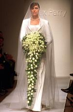 MAY 8, 2001 : She appeared on the catwalk wearing Alex Perry wedding gown during Australian Fashion Week. Picture: Dan Peled