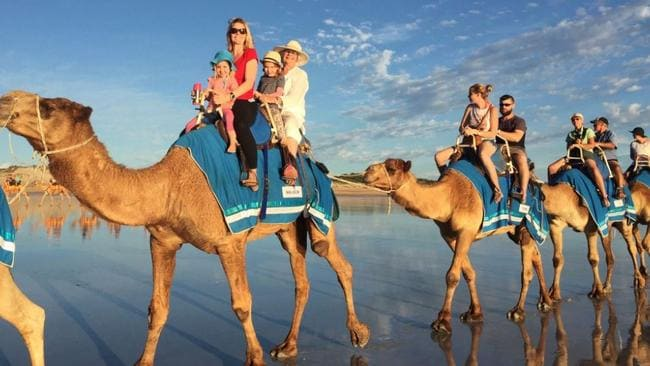 No trip to Broome is complete with one of its world-famous camel rides. Picture: Tourism Western Australia