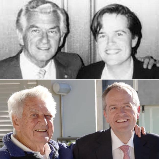 Bob Hawke and Bill Shorten recreated an old photograph on Monday, just days before the legendary leader died.