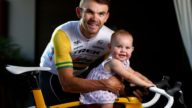 Family man ... Jack Bobridge with daughter Amellie. He has just announced his retirement from cycling. Picture: Sarah Reed.