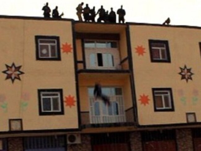 It's not the first time militants have thrown people off the roof for being gay. The above picture was taken in December.