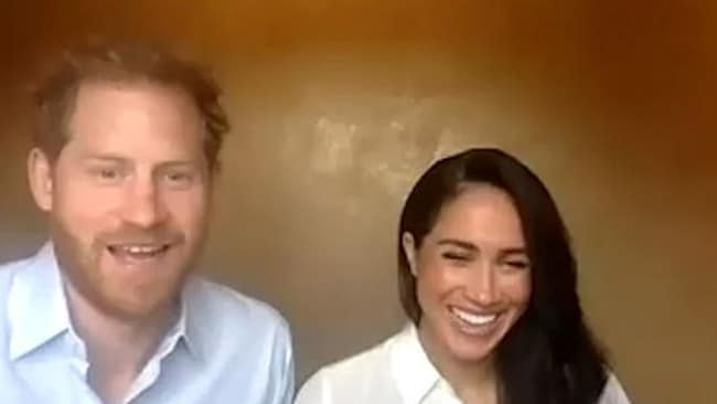 Prince Harry and Meghan Markle were in good spirits when they participated in a Zoom call with young Commonwealth leaders. Picture: Queen's Commonwealth Trust