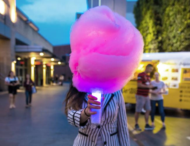 Glow-in-the-dark fairy floss from Fluffy Crunch for Milk N' Sugar pop-up during Vivid.
