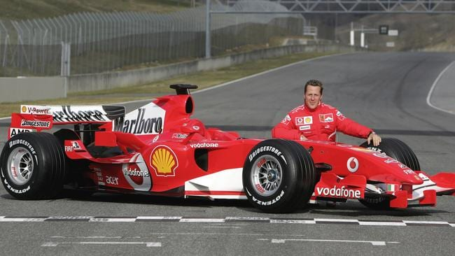 Schumacher at the 248 F1's reveal at Mugello in 2006.