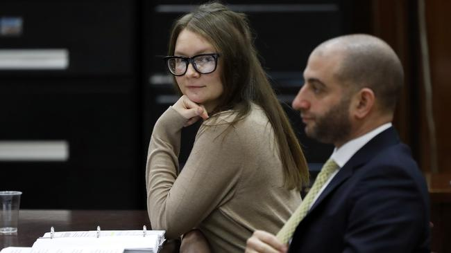 Sorokin glares into the camera with her defence lawyer Todd Spodek sitting next to her in the New York State Supreme Court on Wednesday. Picture: Richard Drew/AP