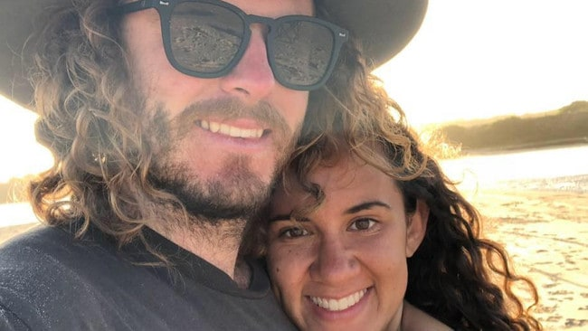 Brodie McInnes and his fiancee Kila Maino were having their engagement party when police shot dead Jacob Carr. Picture: Facebook