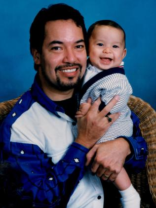 Tiamat in a past life. Richard Hernandez and his son Marcos Hernandez in April 1997. Picture: Media Drum World/Australscope