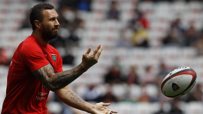Toulon fly half Quade Cooper warms up prior to a French Top 14 match.