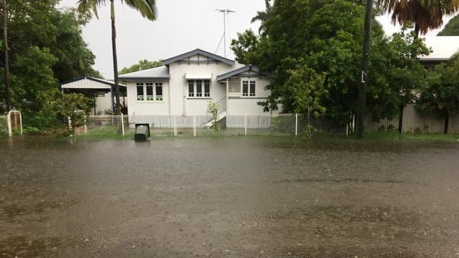 Flooding on Sherriff Street in Hermit Park, Townsville.