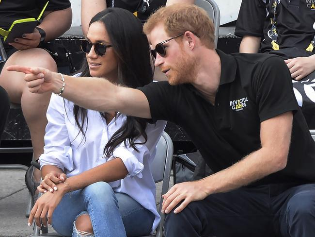 Prince Harry's first public outing with Meghan in Toronto at the Invictus Games. Picture: Nathan Denette/The Canadian Press via AP.
