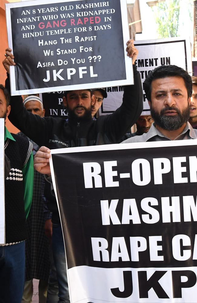 Indian Kashmiri protesters hold banners during a protest calling for justice following the recent rape and murder case of an eight-year-old girl in the Indian state of Jammu. The brutal killing of a 16-year-old girl has reignighted the debate. Picture: AFP