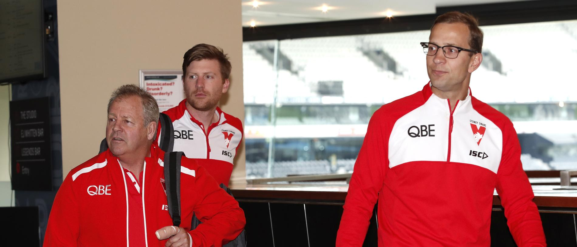MELBOURNE, AUSTRALIA - OCTOBER 16: Head of Recruitment and List Strategy Kinnear Beatson of the Swans (L) arrives during the Telstra AFL Trade Period at Marvel Stadium on October 16, 2019 in Melbourne, Australia. (Photo by Dylan Burns/AFL Photos via Getty Images)