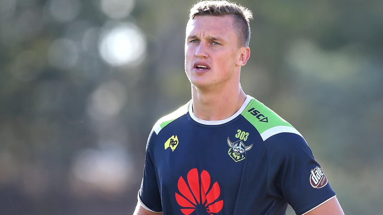 Raiders fullback Jack Wighton will appear in ACT Magistrates Court on Wednesday facing nine charges stemming from a night out in February. Photo: Kym Smith