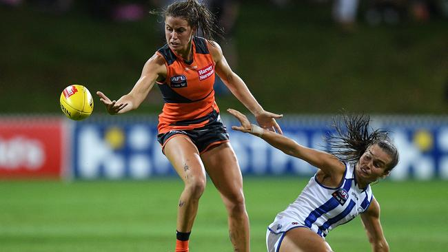 Nicola Barr was referred to the tribunal for rough conduct on Ashleigh Riddell, right. Picture: AAP Image