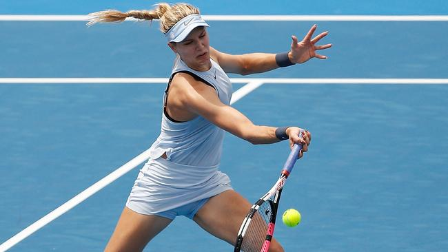 Genie Bouchard smashed the Aussie in straight sets at Kooyong. Picture: Getty