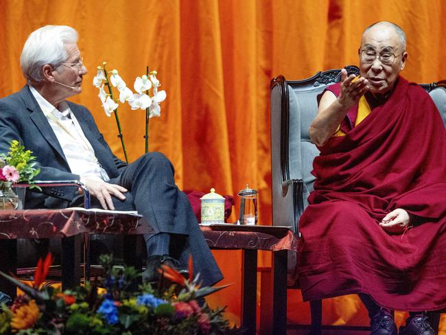Blessing! Tibetan spiritual leader Dalai Lama, right, with American actor Richard Gere during a lecture about the International Campaign for Tibet in Rotterdam. Picture: AFP